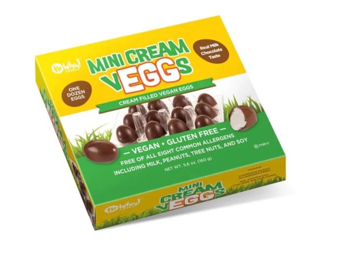 No Whey brand mini vegan cream eggs in milk chocolate filled with white cream.