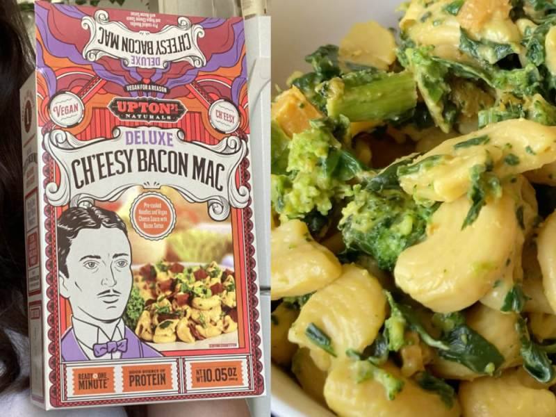 Upton's Naturals Deluxe Cheesy Bacon Mac review with added spinach and broccoli.