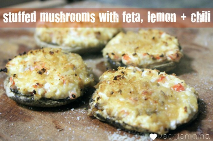 Stuffed mushrooms with feta, lemon and chilli recipe | Veggie Mama
