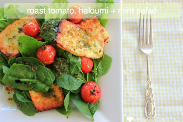 roast tomato, haloumi and mint salad