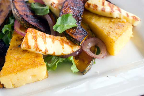 Meatless Monday: Grilled polenta and pumpkin salad with haloumi