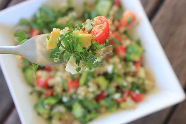 Herby Lemon Quinoa Salad: a super-tangy, crunchy, summery salad full of fresh veg, quinoa, salty feta and a lemon-herb dressing.