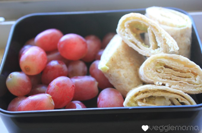 kid food ideas: avocado and grated cheese on wrap, grapes | Veggie Mama