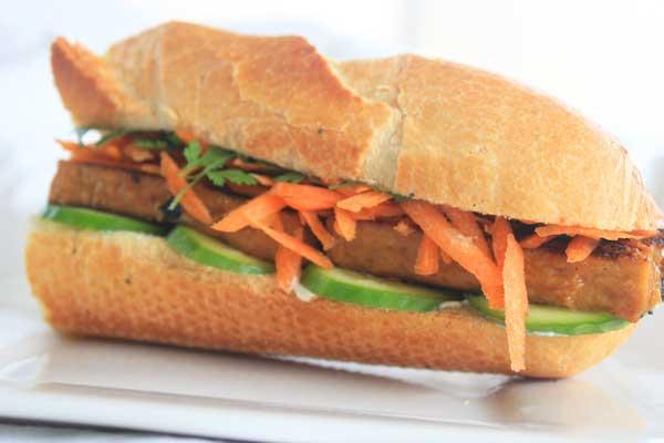 Marinated tofu gives this vegetarian banh mi a spicy kick.