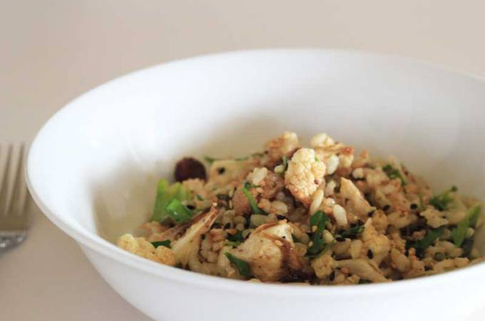 Roasted Cauliflower and Brown Rice Salad with Dukkah