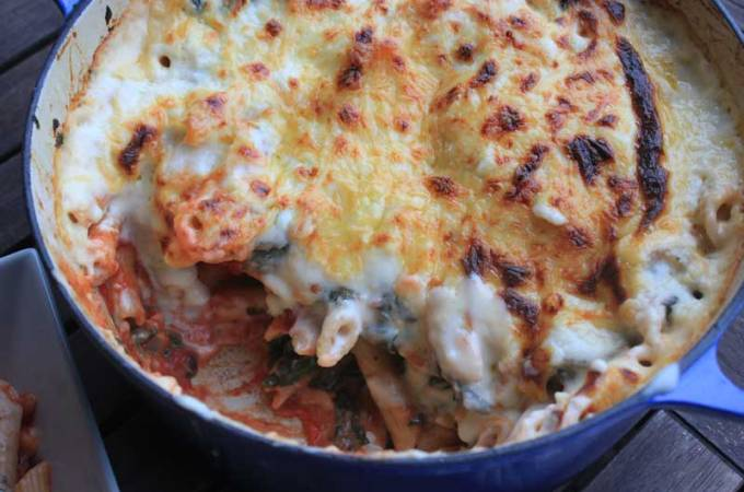 Spinach and Tomato Bechamel Pasta Bake