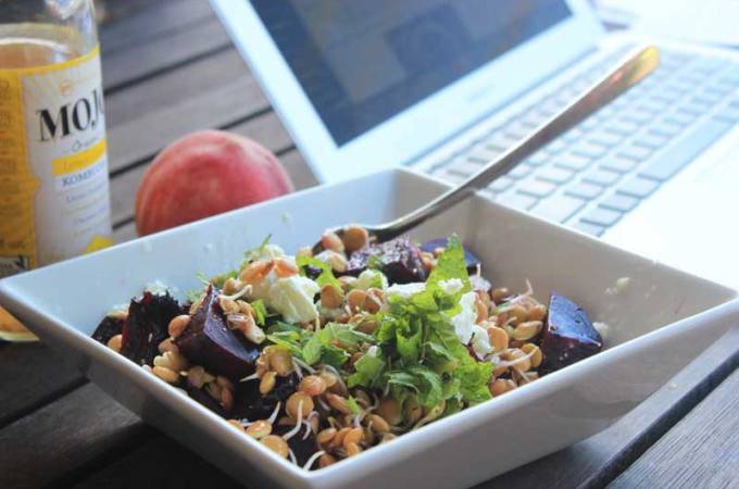 Sprouted Lentil and Roasted Beetroot Salad with Goat Cheese {a Quick Lunch}