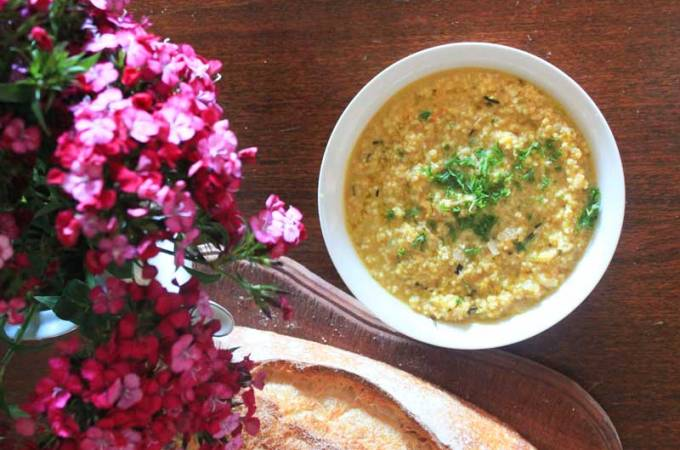 Roasted pumpkin and millet risotto: Millet makes a lovely creamy risotto, a great alternative to rice. This recipe has roasted pumpkin and optional cheese.