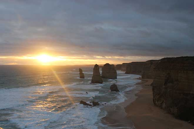 Sunset at the 12 Apostles, Great Ocean Road, Victoria, Australia.