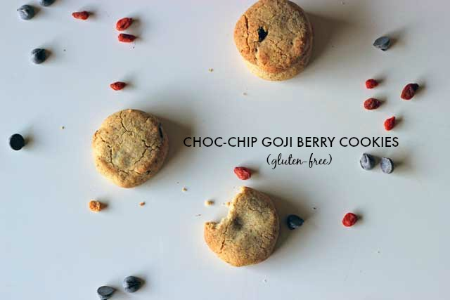 Gluten Free Choc Chip Goji Berry Cookies