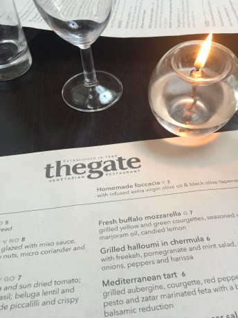 The gate menu on the table