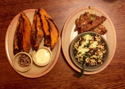 nandos vegetarian fillet, super grains and sweet potato wedges
