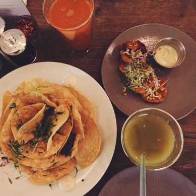 nachos, sweet potato falafels, juice