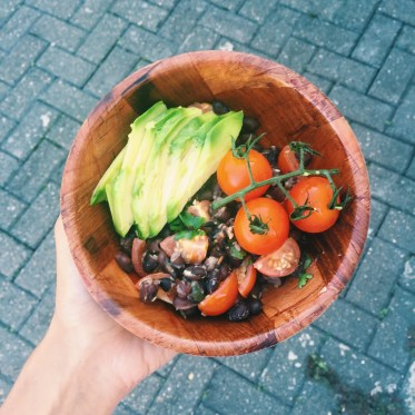 Black beans, avocado, tomatoes, pumpkin seeds