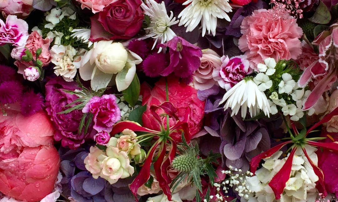 Bespoke red and purple floral design
