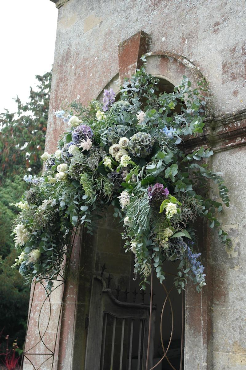 Wedding Flower Arch over church doorway