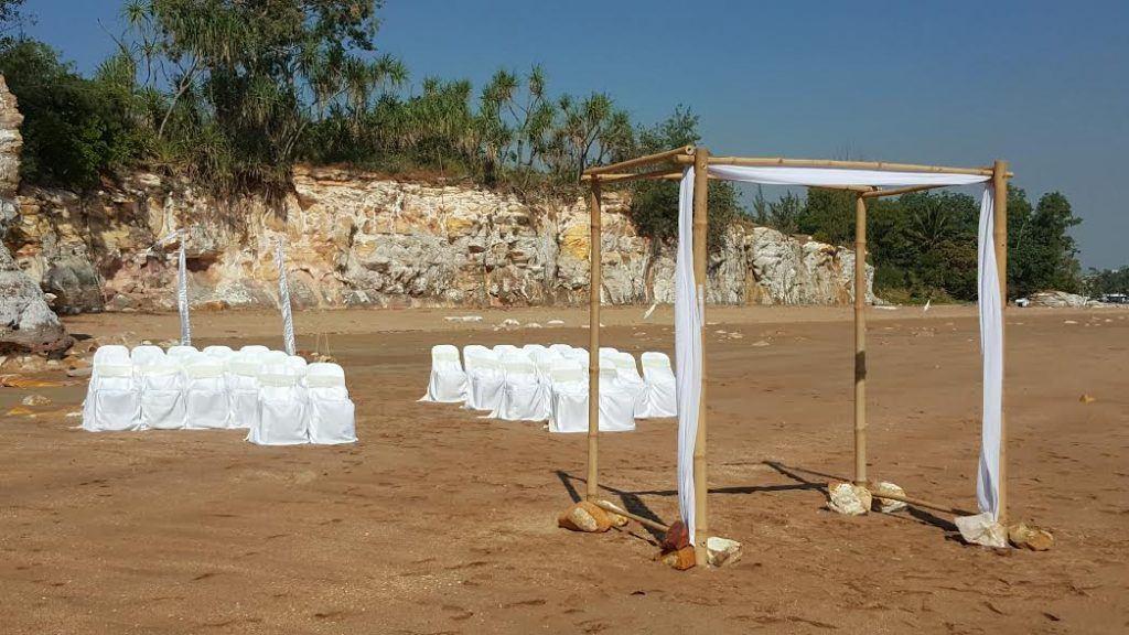 bamboo gazebo; white wedding; sand; cliffs; darwin