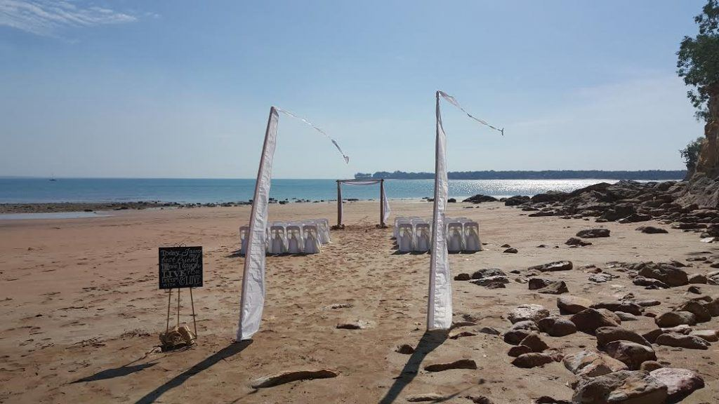 bali flags; beach wedding; barefoot bride; wedding signage; fannie bay; darwin