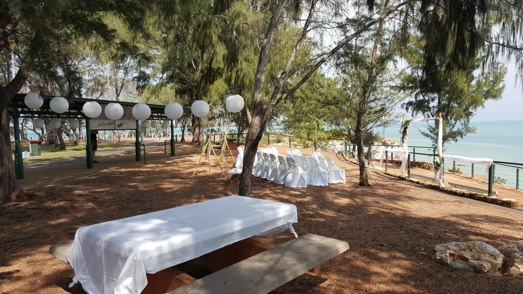 outdoor ceremony; white wedding; bamboo; paper lanterns; ocean view; clifftop wedding; fannie bay; dudley point