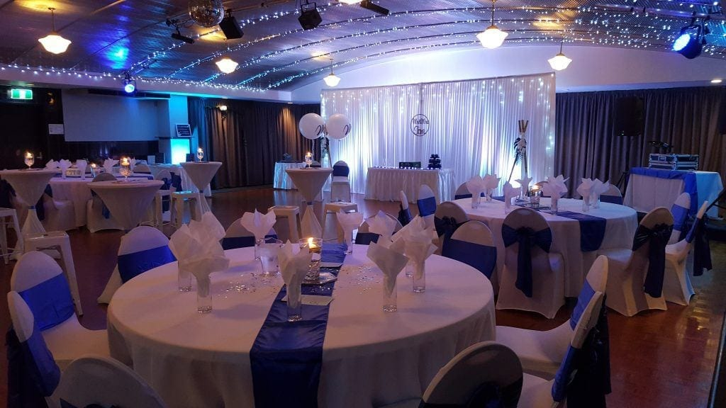 sapphire blue, balloons; fairy lights; bars and stools