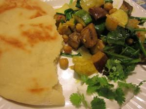 Homemade Naan with Curried Eggplant