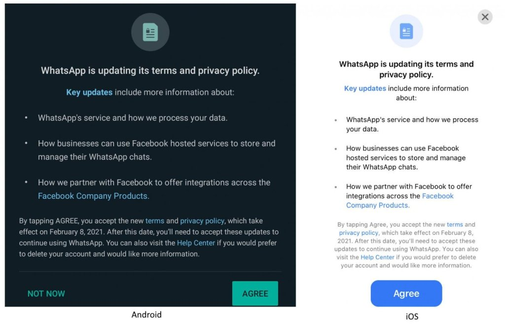 אישור תנאי השימוש החדשים של וואטסאפ