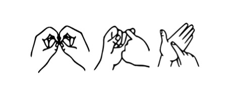 Drawn hands signing B S L