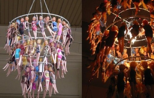 Barbie dolls used as a chandelier