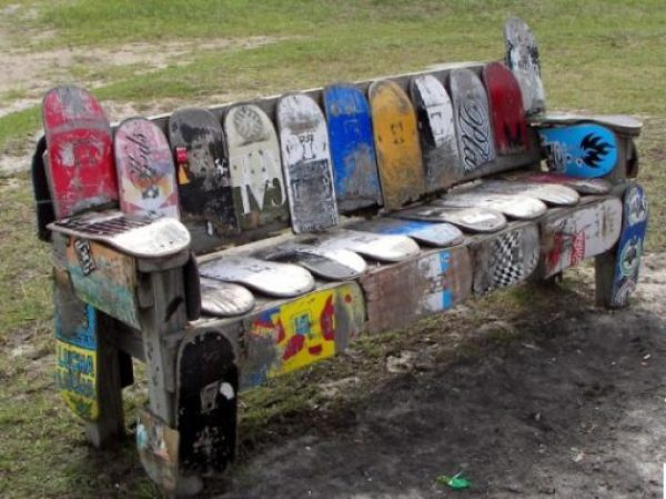 Recycled Skateboard Theme Park Bench
