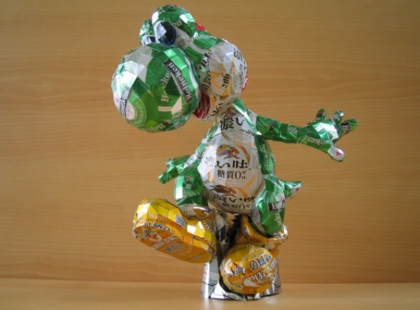 Yoshi Sculpture Made From Recycled Drinks Cans