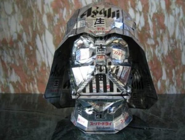 Darth Vader Sculpture Made From Recycled Drinks Cans
