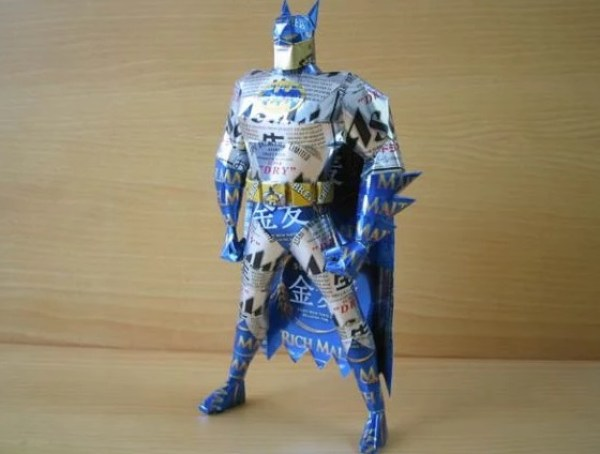 Batman Sculpture Made From Recycled Drinks Cans