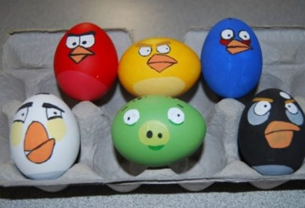 Angry Birds Painted Easter Eggs