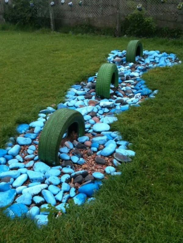 Tyres turned into loch ness monster