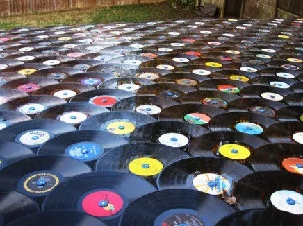 Roof Tiles made from vinyl records