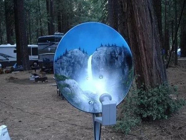 Scenic View Effect Satellite Dish Art