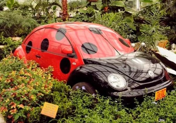 Ladybird Volkswagen Beetle in Garden
