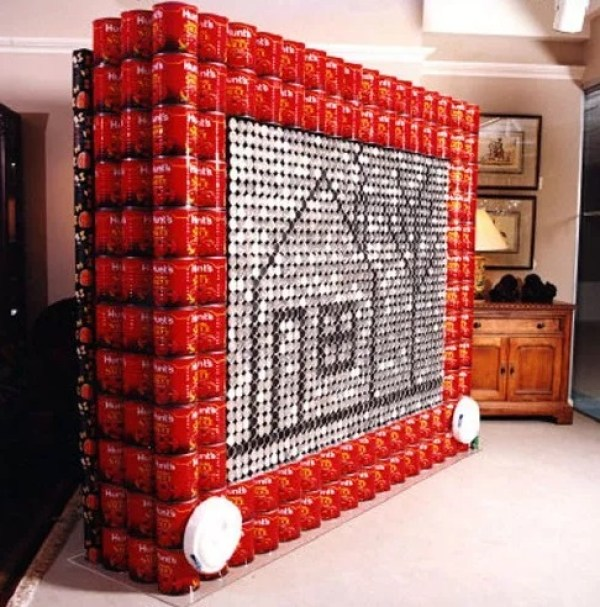 Etch A Sketch made with tins of food