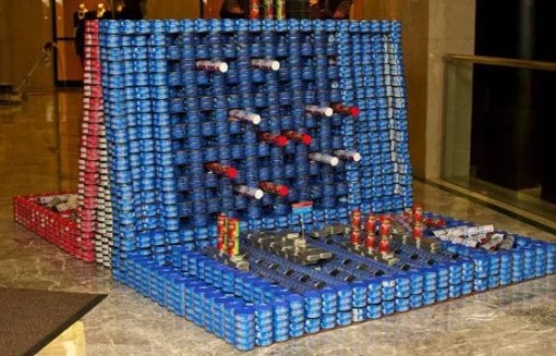 Battleships game made with tins of food