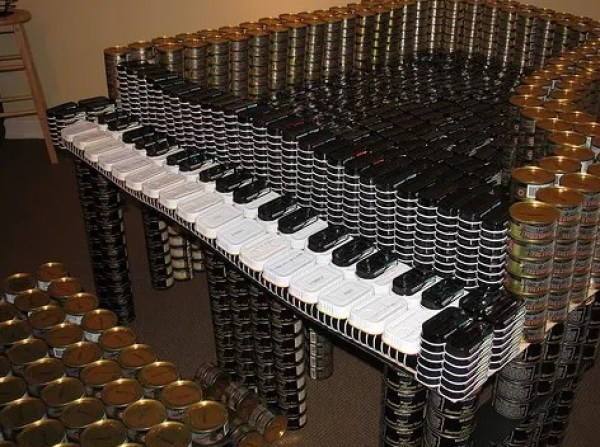 Piano made with tins of food