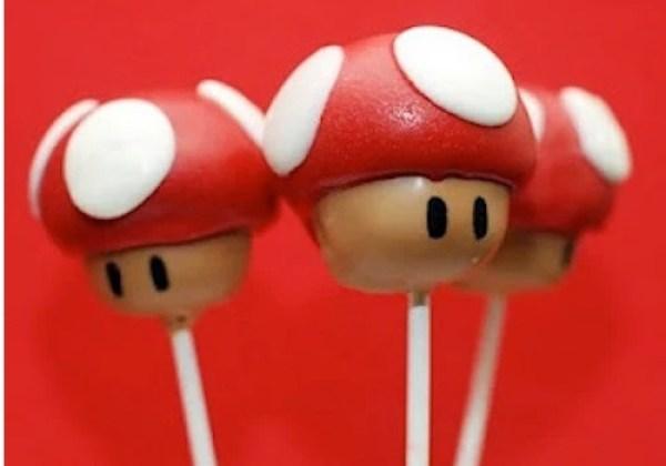 Super Mario Bros mushroom inspired cake pop