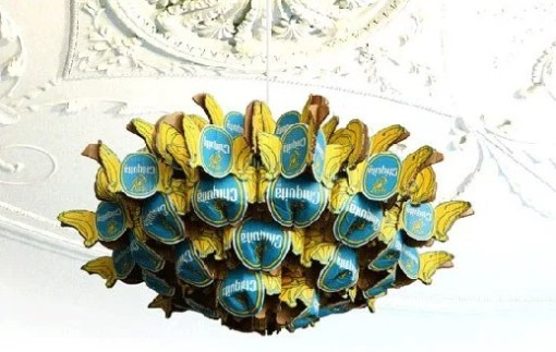 Chandelier made from Chiquita Banana Labels