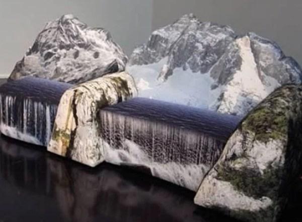 Waterfall inspired 'montanara' couch by Gaetano Pesce