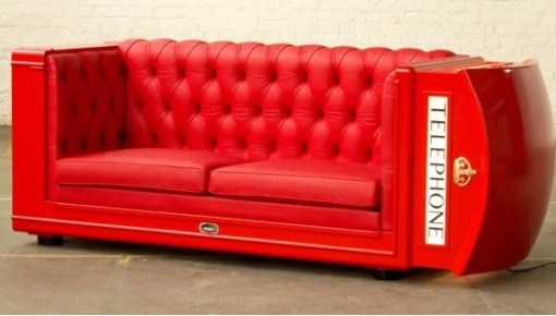 Red UK Phone Box Inspired Sofa