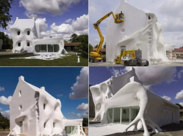 House covered in glue