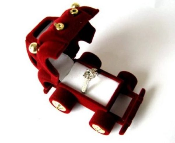Rare Vintage Red Beetle Car Ring Box Kawaii Cute
