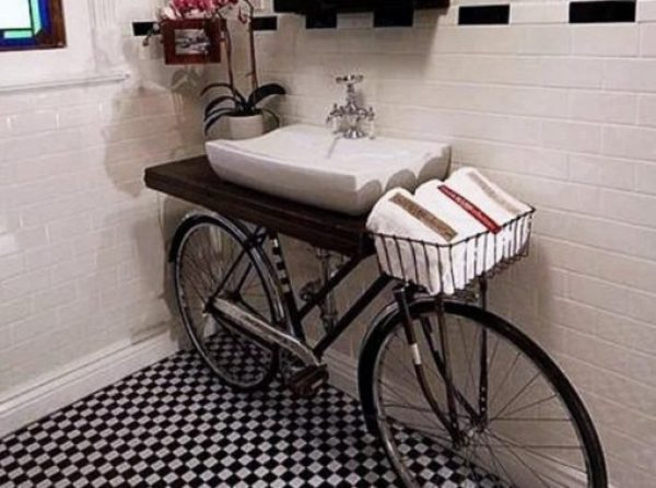 Bicycle Repurposed as a hand basin