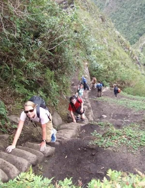 Staircase in Wayna Pichu at Machu Pichu, Peru