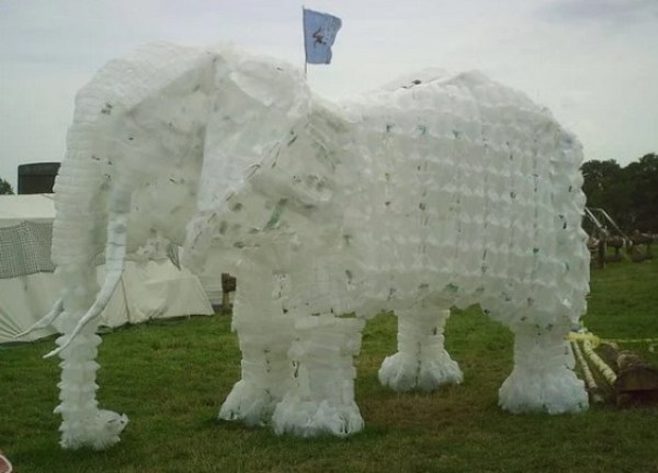 White Elephant Made With Empty Plastic Milk Bottles