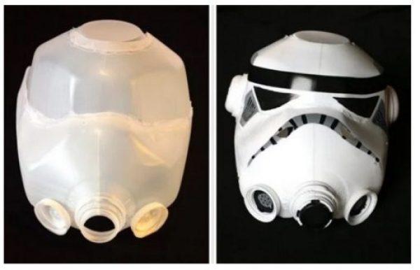 Storm Trooper Helmet Made With Empty Plastic Milk Bottles